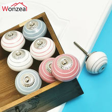 1PCS Hand-painted 41mm Ceramic Drawer Knobs Cabine Cabinae Pulls With Base Bedroom Kitchen Door Furniture Handles