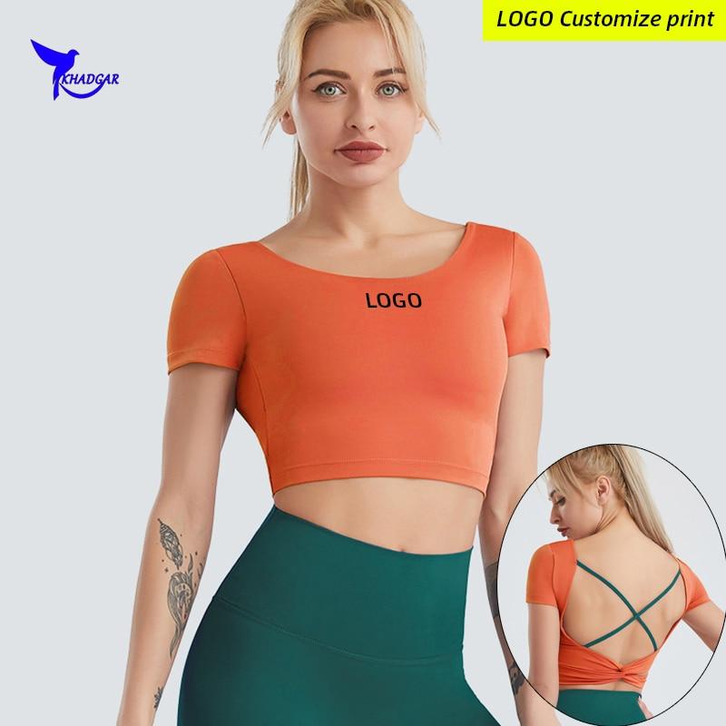 Custom LOGO Backless Padded Running Gym Sports T-Shirt Women Fitness Yoga Short Sleeve Shirts Quick Dry Elastic Workout Crop Top