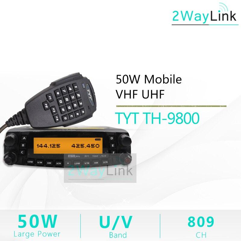 TYT-estación de Radio TH-9800 para coche, de 50km walkie talkie, transceptor de onda corta, VHF, UHF, Quad Band, plus Pro