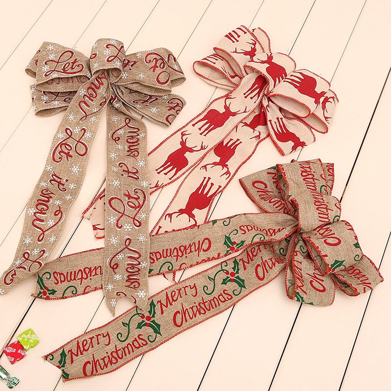 Christmas linen bowknot printing the hang han edition bowknot adornment Japanese Christmas decorations