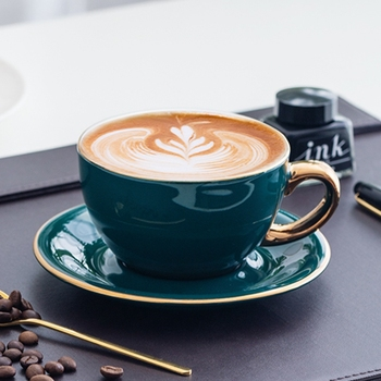 Luxury Gold Inlay Ceramic Coffee Cup And Saucer Coffee Cup Set Holder Green Color Milk Tea Cup Latte Cappuccino Cup Drinkware