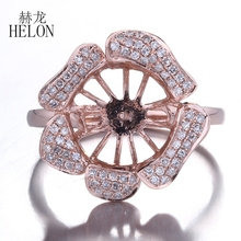 HELON Solid 10K Rose Gold Natural Diamonds Wedding Anniversary Fine Jewelry Semi Mount Ring Setting Fit 9.5 11.2mm Round Pearl