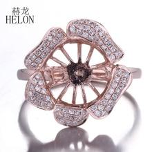 HELON katı 10K gül altın doğal elmas düğün yıldönümü güzel takı yarı asmalı yüzük ayarı Fit 9.5 11.2mm yuvarlak inci