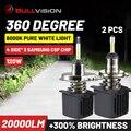 Bullvision 360 H1 H7 светодиод Turbo 20000LM H11 H4 светодиодные фары H9 9005 9006 лед лампы с Samsung Csp HB3 HB4 H8 Противотуманные фары дневные фары лампа мото