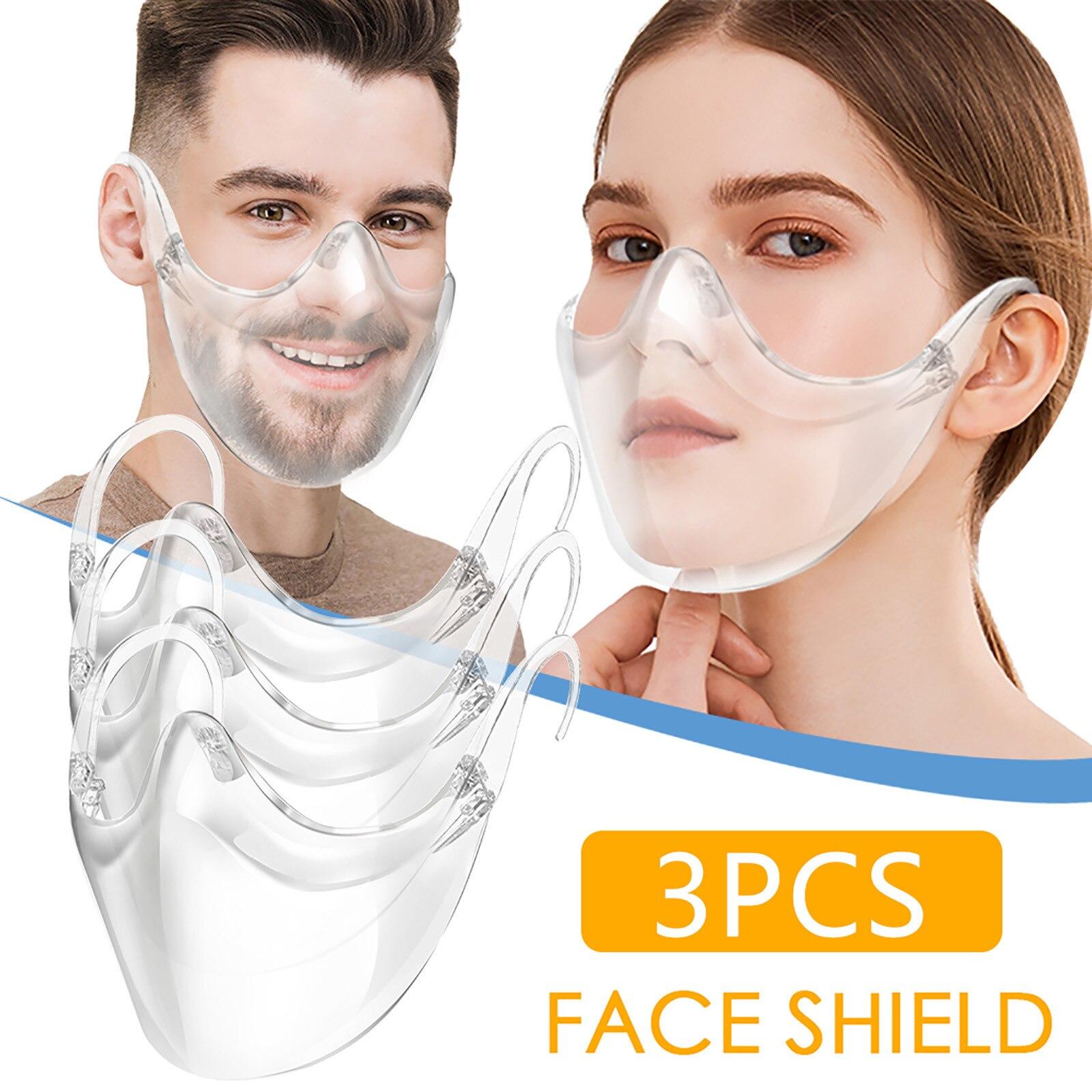 3 шт. прочный уход за кожей лица сочетают в себе Пластик многоразовая прозрачная маска для лица щит модный пыле маски со ртом для лица крышка ...