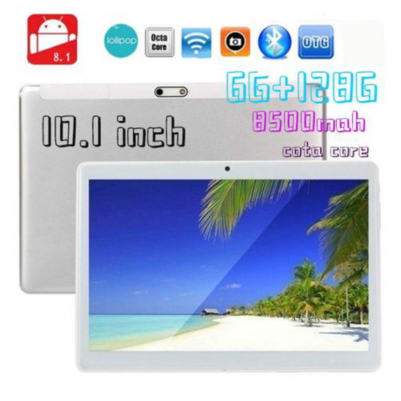 HD IPS 2.5D Screen 10.1 Inch Android 8.0 12800*800 Screen Tablet 10 Core 6GB + 128GB Dual SIM Card Phone 4G Call Wifi Tablet