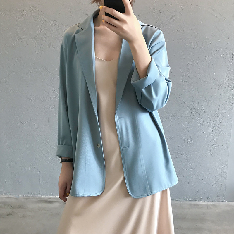 2020 New Women Summer Blazer Thin Coat Turn Down Collar Women Spring Coat Casaco Feminino Pure Color Tops For Women