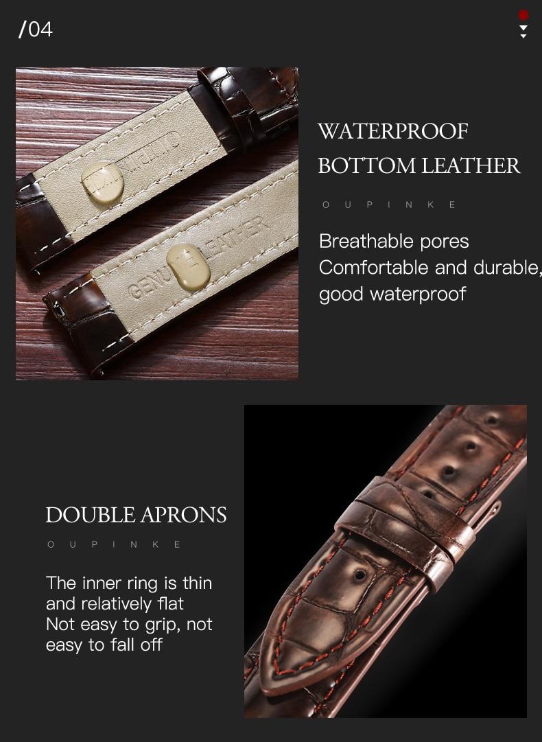 Oupinke pulseira de couro de crocodilo pulseira