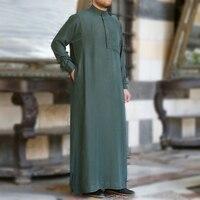 Islam Men Kaftan Islamic Clothing Green Gray Muslim Dress Robe Arab Short Sleeve Saudi Kaftan Man Robe Dresses Musulman Ramadan