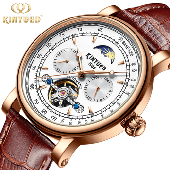 KINYUED Mens Watches Top Brand Luxury Automatic Mechanical Tourbillon Watch Men Moon Phase Luminous Clock  Leather Erkek Saati
