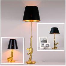Moderne Galvani Tisch Lampe AK47 Gun Design Schreibtisch Dekor Beleuchtung Gold Silber Kreative Metall Lesen Nacht Licht Für Nacht