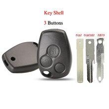 Kutery escudo da chave do carro para renault traster vivaro logan fluence clio sande megane 3 botões substituição remoto chave caso capa