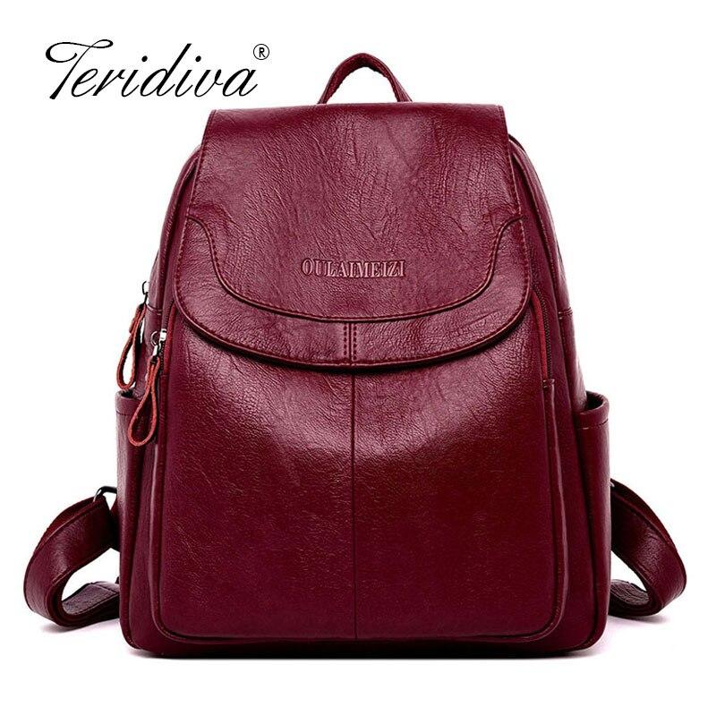 Brand Vintage Leather Backpacks Female Travel Shoulder Bag Mochilas Women Backpack Large Capacity Rucksacks For Girls