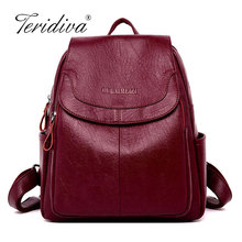 Brand Vintage Leather Backpacks Female Travel Shoulder Bag Mochilas Women Backpack Large Capacity Rucksacks For Girls