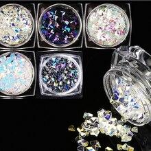 3MM Nail Diamond Flake Sparkly 5Box/set Multi-Color Shiny Glitter Rhombus 3D Flake Nail Art Glitter Decoration Flakes x 1set=5pc