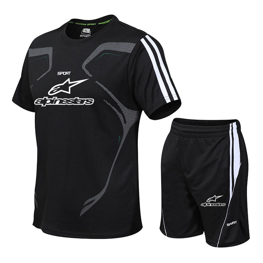 New casual men's brand sportswear clothing men's suits fitness sportswear short-sleeved T-shirt + shorts quick-drying 2 sets