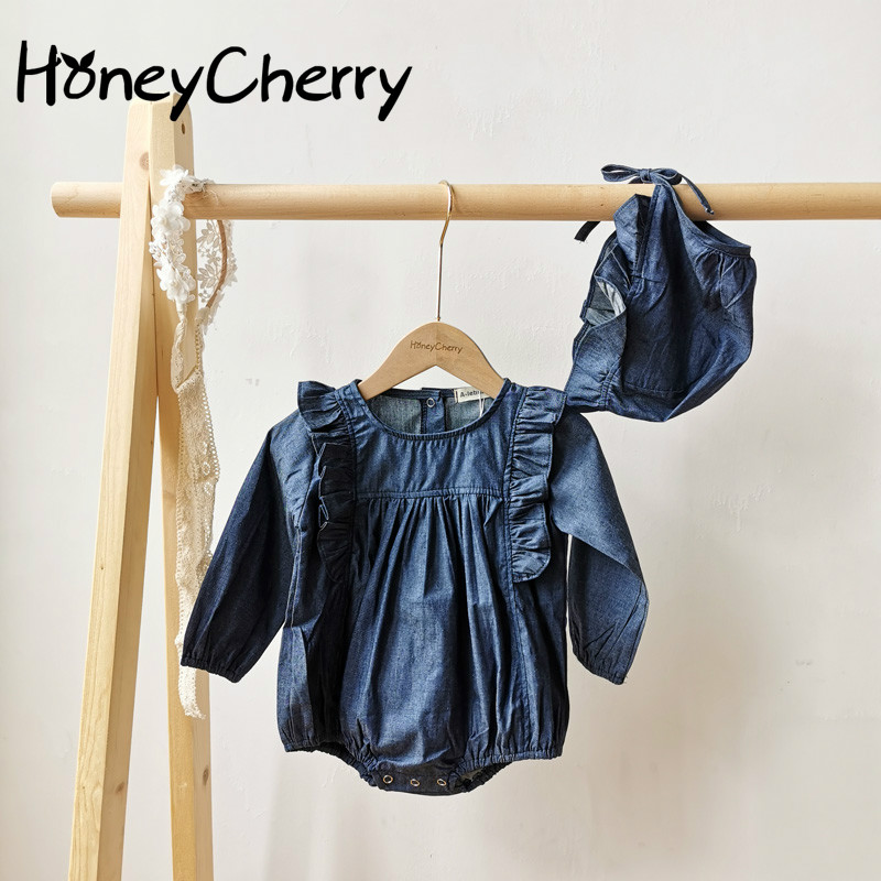 2020 Autumn Baby Romper Cowboy Conjoined Clothes Long Sleeves Lovely Girls Flying Sleeves  Baby Girl Clothes