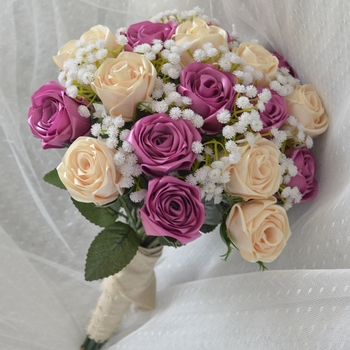 Stain bridal bouquet handmade Wedding flowers Purple Bridesmaid Bridal Bouquets artificial Rose Wedding Bouquet buque noiva недорого