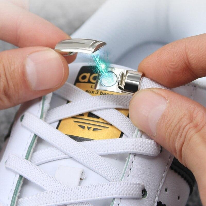 Serrure en métal magnétique pas de lacets de cravate enfant adulte sécurité rapide élastique lacet loisirs de plein air baskets paresseux lacets unisexe 1 paire | AliExpress