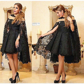 Knee Length Short Black Lace Mother of the Bride Dress with Cape Groom Wedding Party Guest Prom Evening Gown Formal