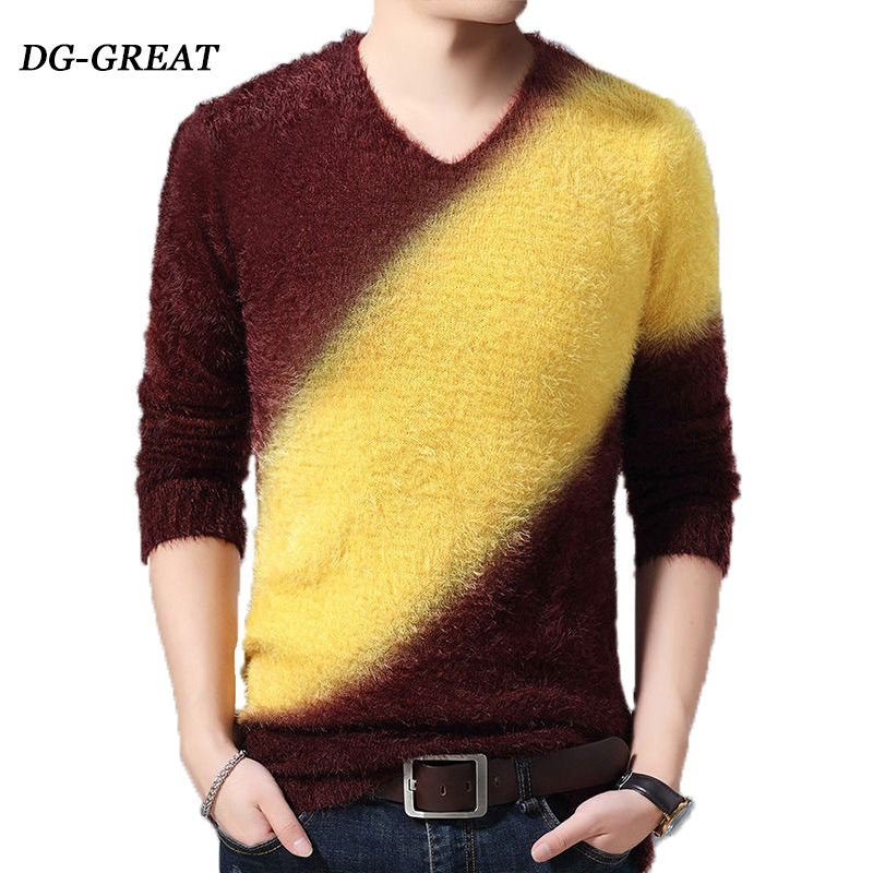 Men's Sweater Autumn Winter Thick Mohair Long-sleeved O-neck Knitted Pullover Fashion High Quality Slim Warm Sweater For Male