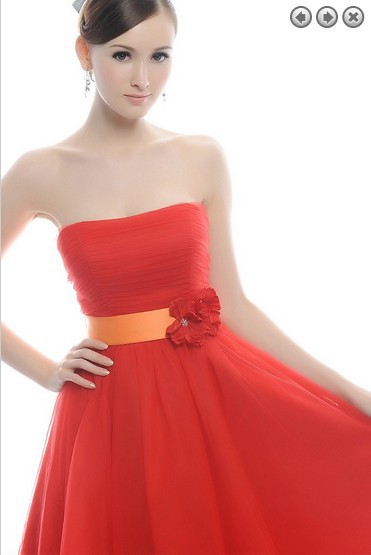 free shipping Crepe Knee-length Sweetheart A-line Vestidos Formales 2016 New Fashion Plus Size Party Prom Gown bridesmaid dress