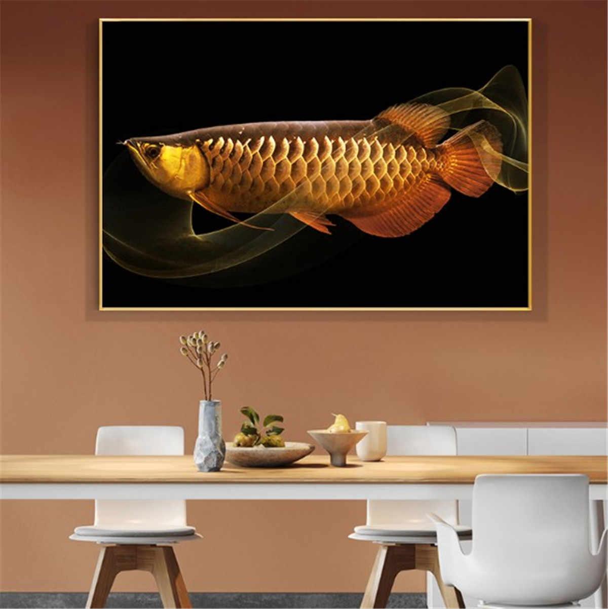 Złoty smok ryby Arowana plakat na płótnie draperie drukowany obraz wystrój salonu domu