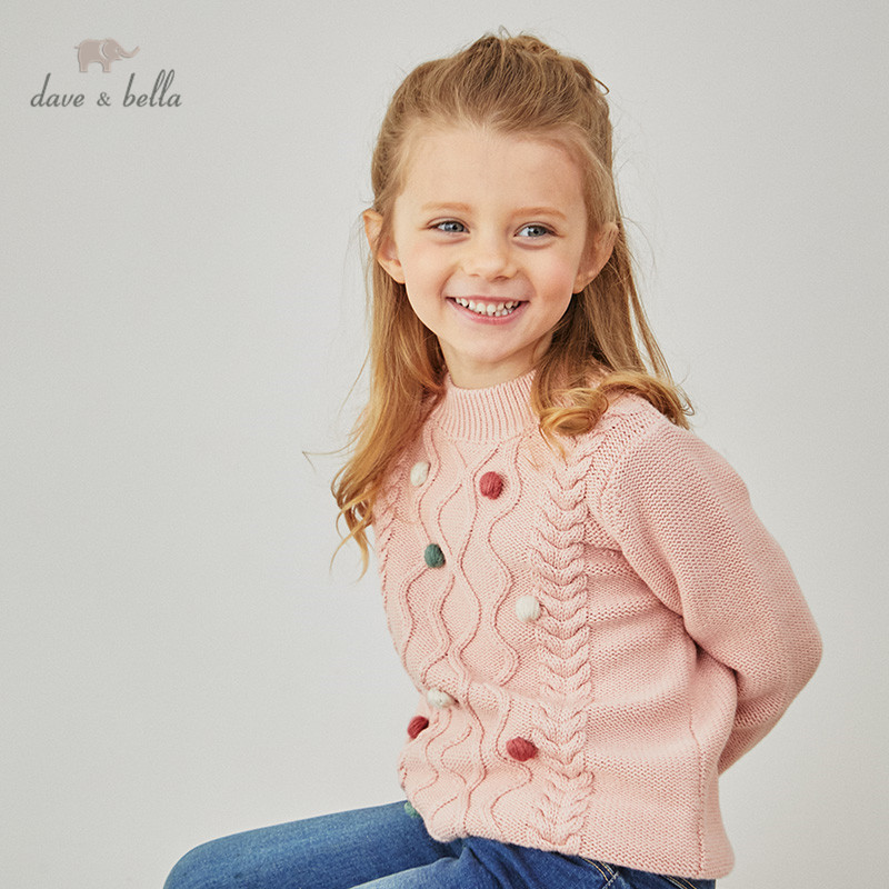 DBM15465-1K dave bella winter baby girls Christmas striped appliques knitted sweater kids fashion toddler boutique tops