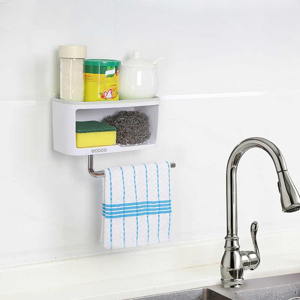 Caja de almacenamiento para baño con soporte de almacenamiento de artículos de cocina con barra de toallas soporte de almacenamiento de artículos varios estante de almacenamiento de cocina ABS + PS