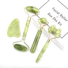 New Jade Stone Facial Massage Roller For Face Eye Face Neck Natural Massager Guasha Scraper Thin Lift Beauty Slimming Tools