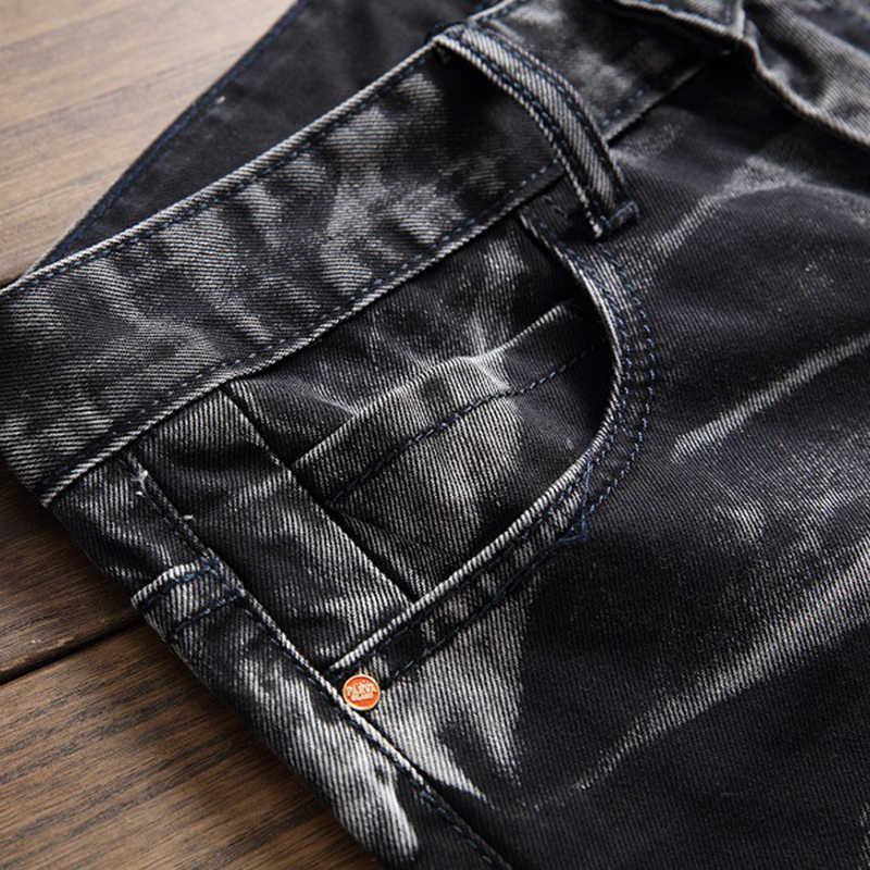 DIHOPE Uomini Pantaloni Dell'annata Dei Jeans Maschio Dritto Pantaloni Jeans di Marca Strappato Skinny Slim Denim Stretch Jeans di autunno di Fitness