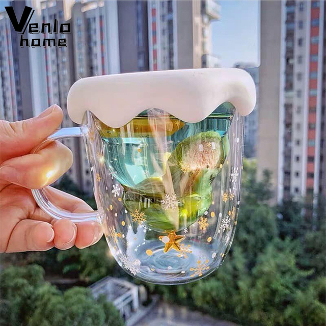 300Ml Creative Christmas Tree Glass Cup Heat-Resistant Double Wall Glass Cup Coffee Mug with Lid Cute Christmas Gifts for Girls 1