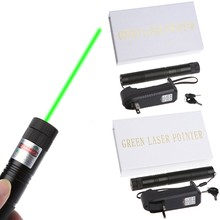 5mw 532nm 303 Green Laser Pointer Pen Adjustable Focus Burning Match Beam With 18650 Battery Charger(China)