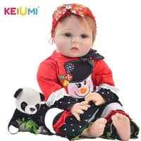 Keiumi 22 Polegada collectible reborn vivo menina boneca todo o corpo de silicone 55 cm lifelike boneca recém-nascido brinquedos para crianças presentes de natal