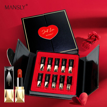MANSLY lipstick set female student models niche brand gift box 10PCS / set of box waterproof not faded lasting