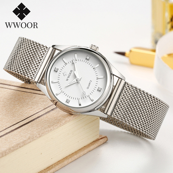 цена на WWOOR Womens Watches Women Fashion Watch 2020 Famous Brands Silver Elegant Small Watches Ladies Quartz Diamond Wrist Watch Gifts