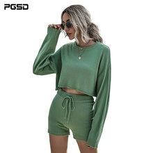 Pgsd осенне зимняя женская одежда зеленые свитера костюм мягкий
