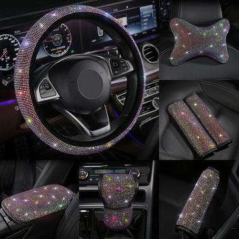 Shining Rhinestones Crystal Car Steering Wheel Cover Gear Shift Cover PU Leather Steering-wheel covers Auto Accessories Case image