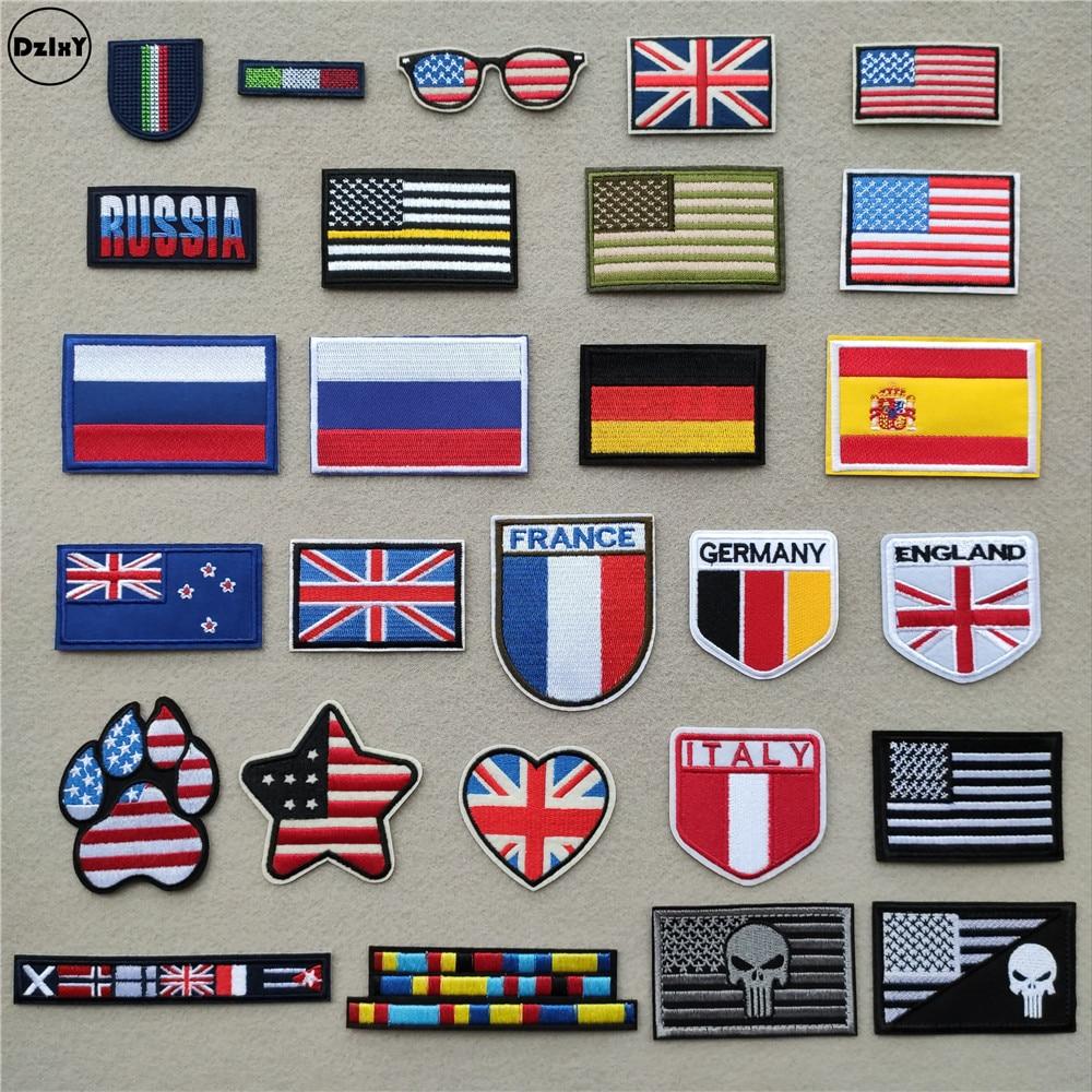 "4/"" X 2/"" U.S Flag Patch Gray Stripes Black Background Iron on"