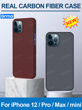 GRMA Real Pure Carbon Fiber Phone Back Cover for iPhone 12 11 Pro Max Ultra Thin Anti Fall for iPhone 12 mini SE2 X XS Max Case
