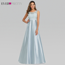 Elegant Satin Evening Dresses Ever Pretty Lace A-Line O-Neck Sleeveless Simple Long Formal For Party Lange Jurken 2019