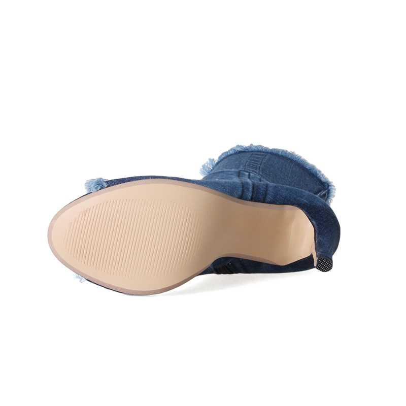 Heißer verkauf Blau jeans stiefel neue sommer schuhe stiefeletten für frauen stiefel blau denim stiefel high heels sexy peep-kappe frau Stiletto