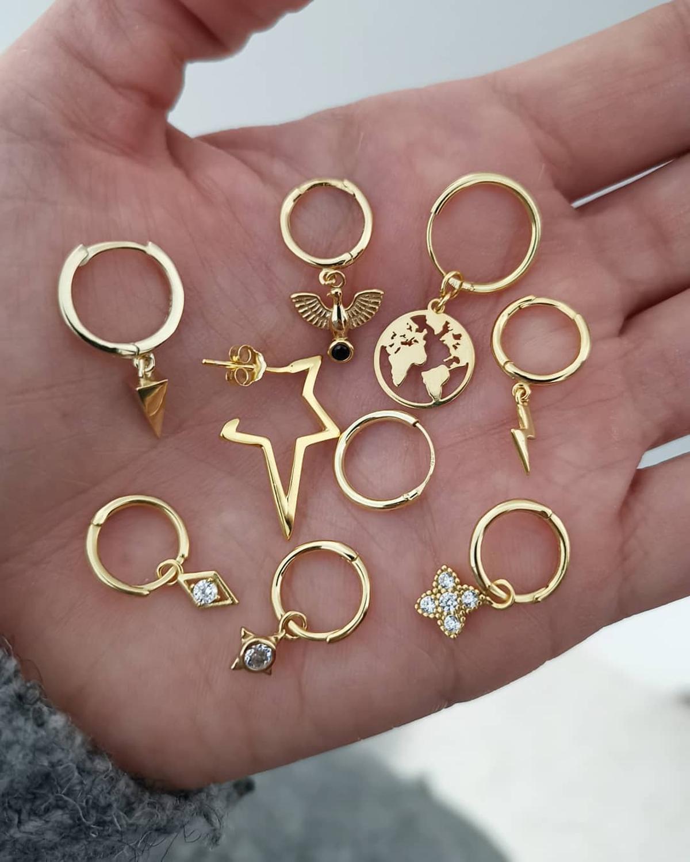 Gold Small Hoop Earrings For Women Hoops Earrings Gifts For Women Thin Star Moon Black Gold Earrings