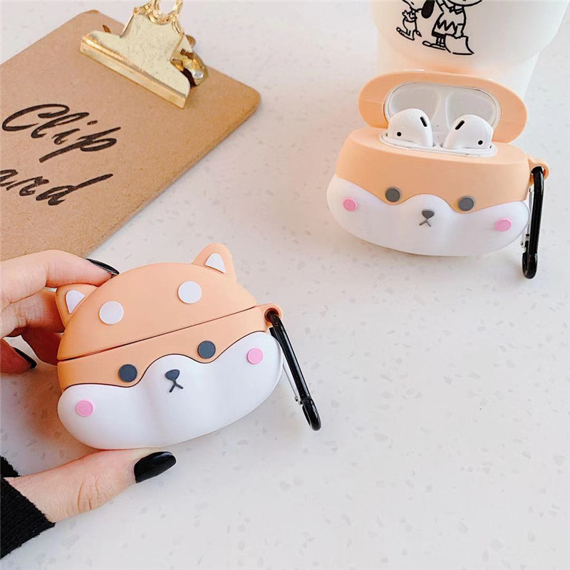 Case for AirPods Pro Cartoon Earphone Case for Apple Airpods 1 2 Cute Accessories Protect Cover with Keychain 3D Shiba Inu Dog