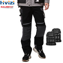 Tool-Trousers Cargo-Pants Workwear Knee-Pads Mechanic Safety Multi-Pockets Cotton Men