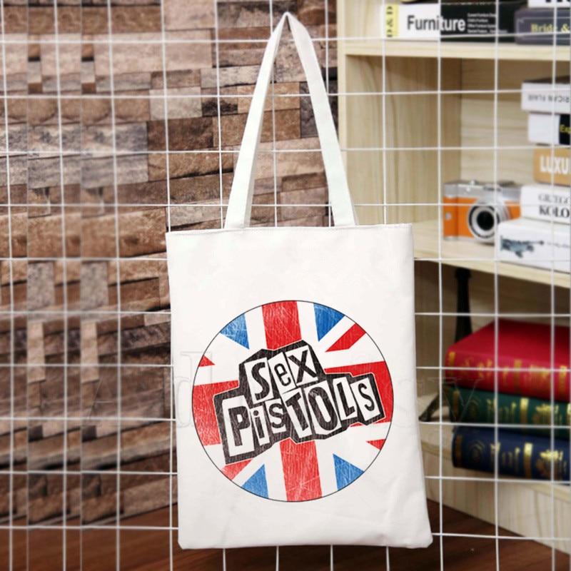 Punk Rock Sex Pistols Loose Rock Band Design Shoulder Canvas Bags Large Capacity College Harajuku Handbag Women Bag Shopping Bag