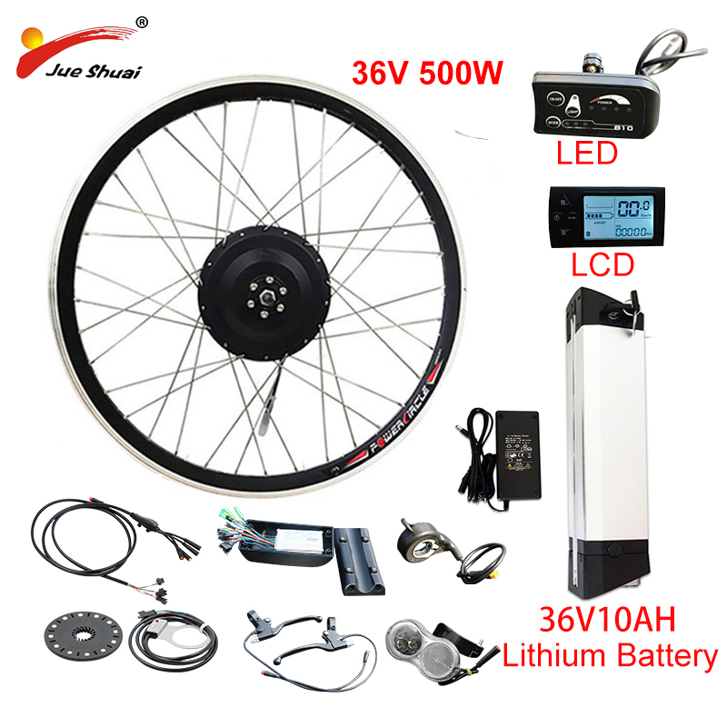 EU RU Duty Free No Tax 36V 500W eBike Kit 36V10AH Lithium Battery ebike Electric Bike Conversion Kit Front Rear Hub Motor Wheel