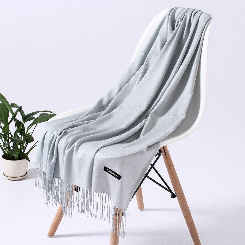 Однотонный кашемировый шарф для женщин новые длинные мягкие шали и палантины пашмины модные хиджаб с кисточками женские шейные шарфы - Цвет: 110g light gray