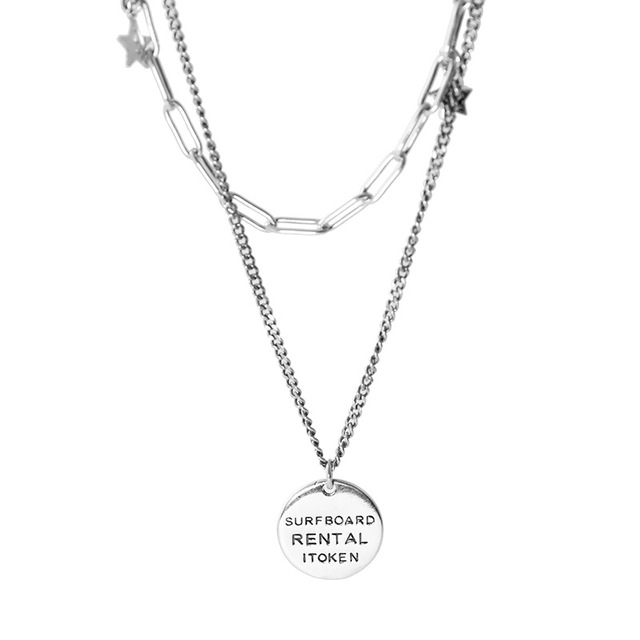 925 argent charmant rond sourire pendentif collier femmes simple lien chaîne colliers bijoux de mode