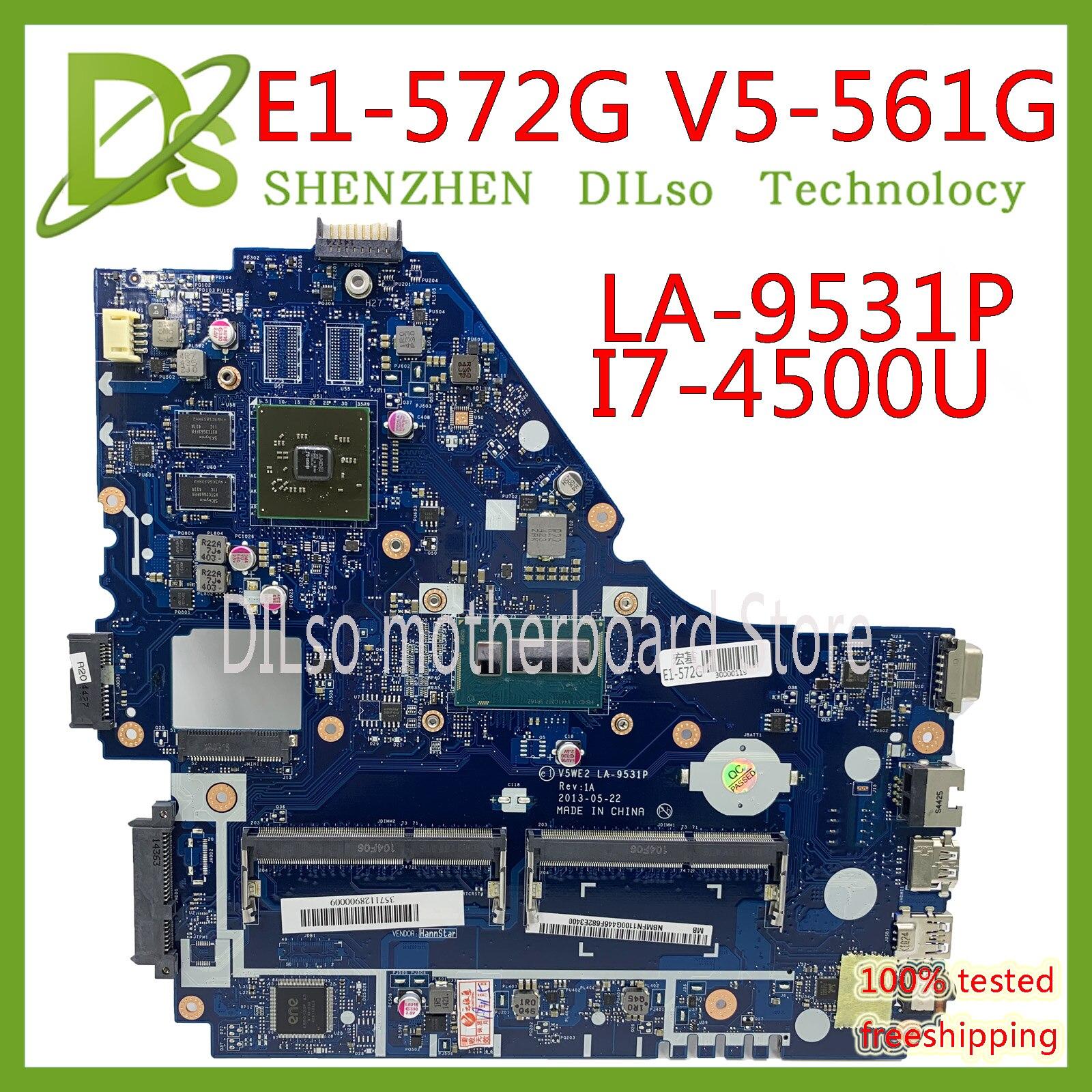 KEFU V5WE2 LA-9531P Mainboard For Acer E1-572G E1-572 V5-561G Motherboard LA-9531P I7-4500 CPU R5 M240 Test Work 100% Original